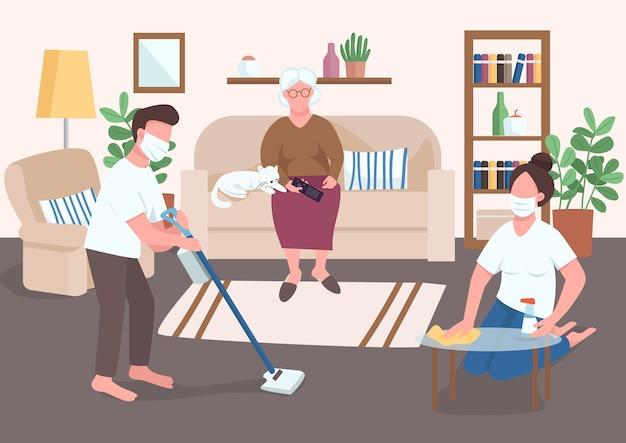 孫は年長者のフラットカラーを助けます。医療用マスクの人々は、高齢者の家事を手伝います。表面ウイルス消毒。背景にインテリアと2d漫画のキャラクターを隔離