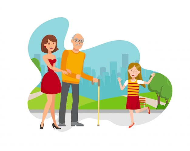 Grandchildren play with grandfather flat vector