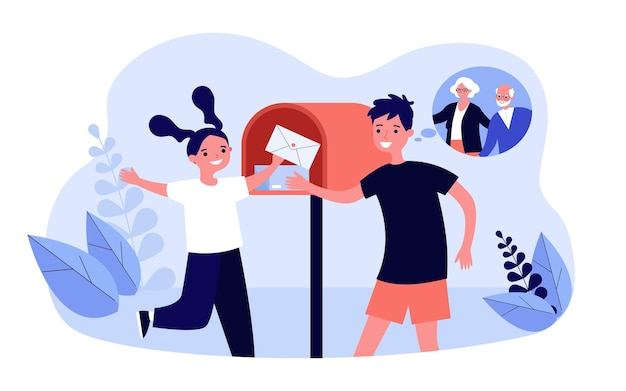 Внуки получают письмо от бабушки и дедушки. плоские векторные иллюстрации. девушка и мальчик вынимают конверт из почтового ящика, радуясь, получая сообщение. почта, семья, детство, концепция доставки
