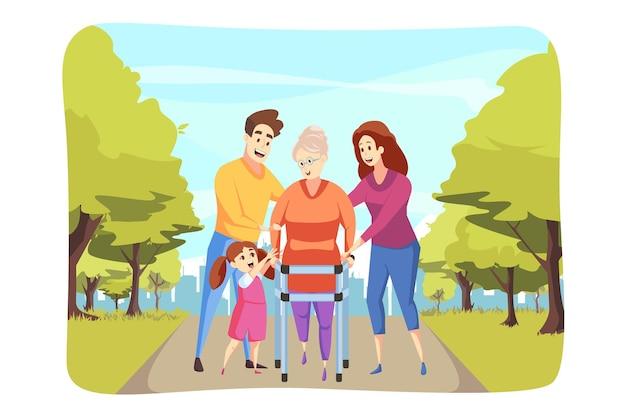 Внучка и мужчина, папа с женщиной-матерью, помогают бабушке-пенсионерке ходить пешком