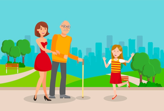 Granddaughters, elderly father flat illustration