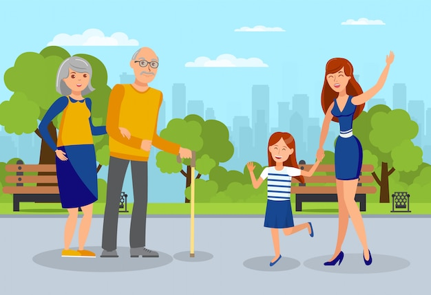 Granddaughters meet grandparents flat illustration