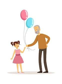 할아버지와 손녀. 늙은이 풍선 행복 한 어린 소녀를 제공합니다.