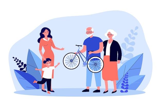 祖父と祖母が孫に自転車を渡します。フラットベクトルイラスト。ママと息子は年上の家族からの贈り物を喜んでいます。サプライズ、ギフト、誕生日、子供時代、家族の概念