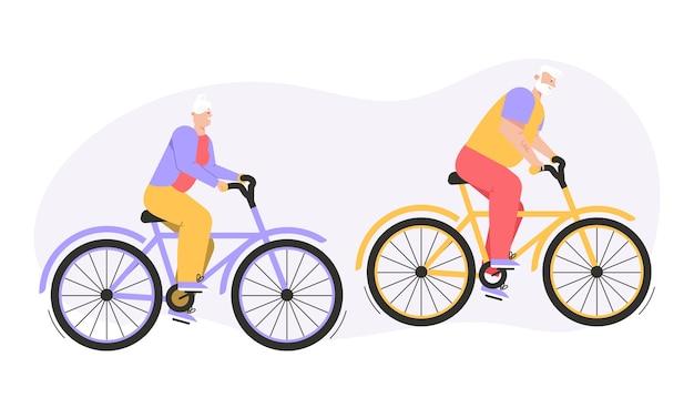 祖父と祖母が屋外で自転車に乗る。