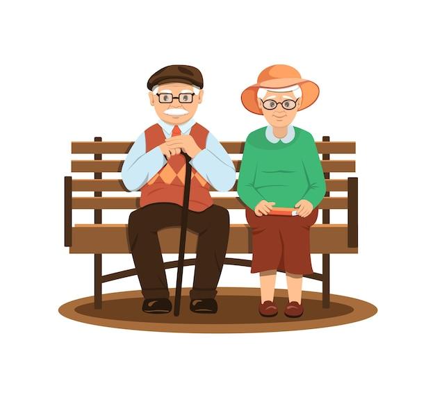 祖父と祖母はベンチに座っています