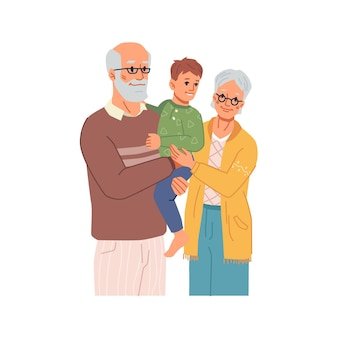 Дедушка и бабушка с внуком на руках