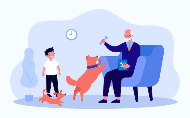 할아버지와 손자가 거실에서 개와 놀고 있습니다. 평면 벡터 일러스트 레이 션. 소년, 강아지, 안락의자에 앉아 강아지에게 먹이를 주는 할아버지. 가족, 애완 동물, 교육, 배너 디자인을 위한 어린 시절 개념