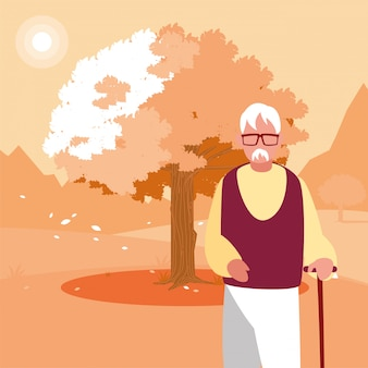 Grandfather avatar old man in front of a tree
