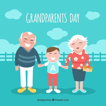 Grandfather background with his grandson Free Vector