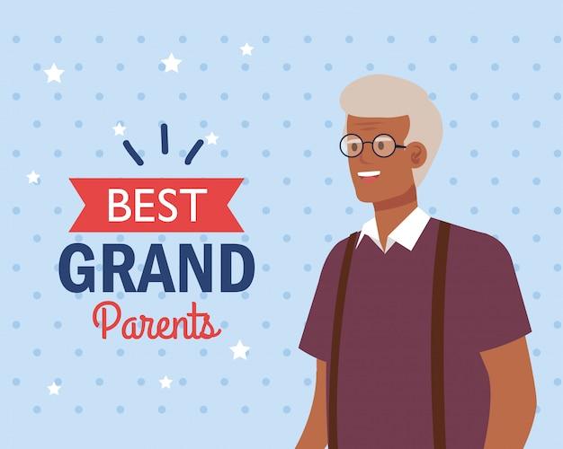 Grandfather on best grandparents vector design