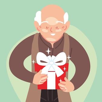 おじいさん漫画オープニングギフト、お誕生日おめでとうお祝い装飾パーティーお祭りとサプライズテーマイラスト