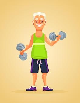 Дедушка делает упражнения плоской карикатурной иллюстрацией