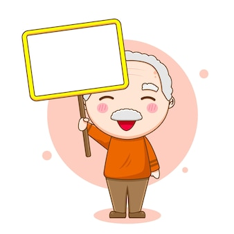 Grandfather character holding empty board
