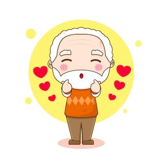 愛の指をポーズする祖父のキャラクター