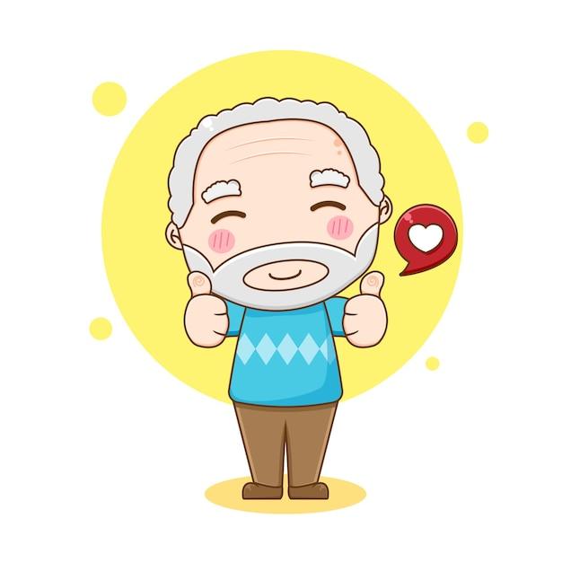 親指を立てる祖父のキャラクター