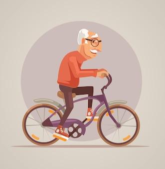 Дедушка персонаж ездит на велосипеде. мультфильм