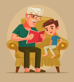Grandfather character sit with grandson and read book story.   cartoon