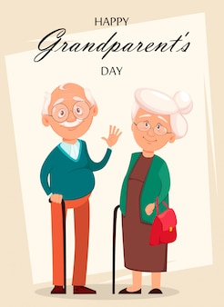 Grandfather and grandmother cartoon characters