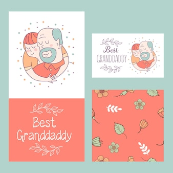Grandfather and grandson. the best grandfather postcard.