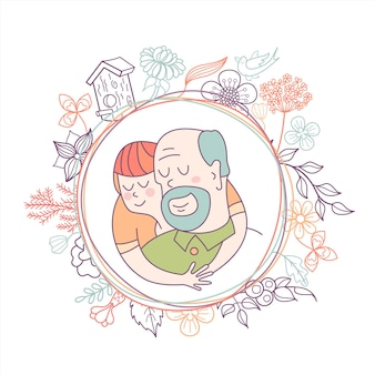 Grandfather and grandson in a flower frame.