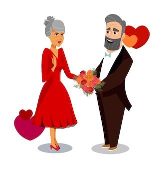 Grandfather greet grandmother vector illustration.