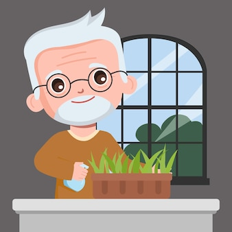 Grandfather growing tree at home cartoon