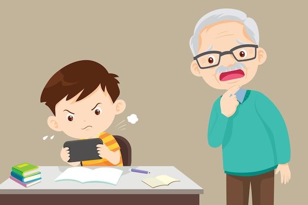 宿題をせずにゲームをしている子供と困っている祖父