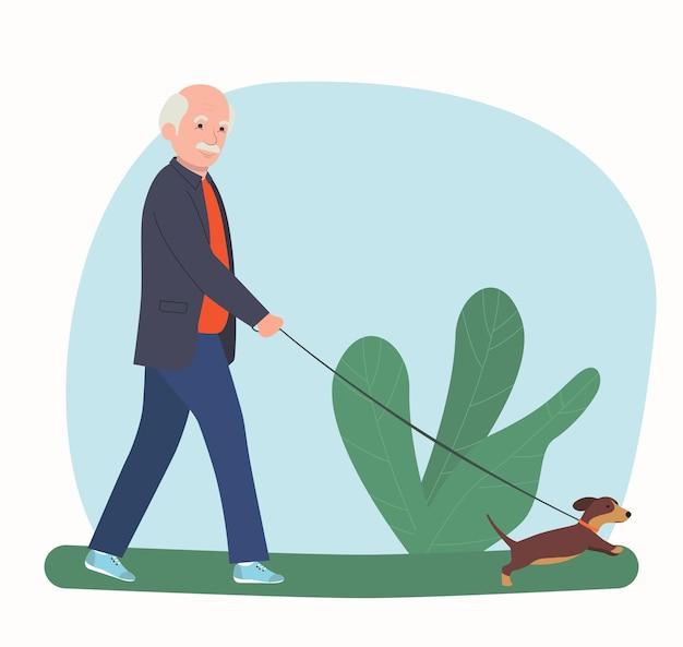할아버지는 고립 된 강아지와 함께 걷고있다