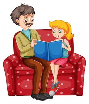 Grandfather and kid reading book together