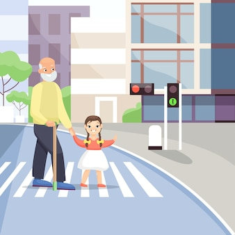 Grandfather and little girl on pedestrian crossing