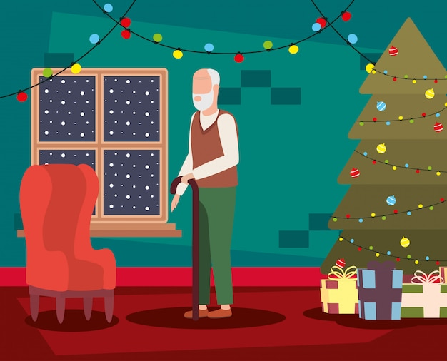 Grandfather in livingroom with christmas decoration