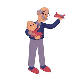 祖父が赤ちゃんフラット漫画イラストで遊んで。おじいちゃんと孫が一緒に。コマーシャル、アニメーション、印刷デザインの2dキャラクターテンプレートを使用する準備ができました。孤立したコミックヒーロー