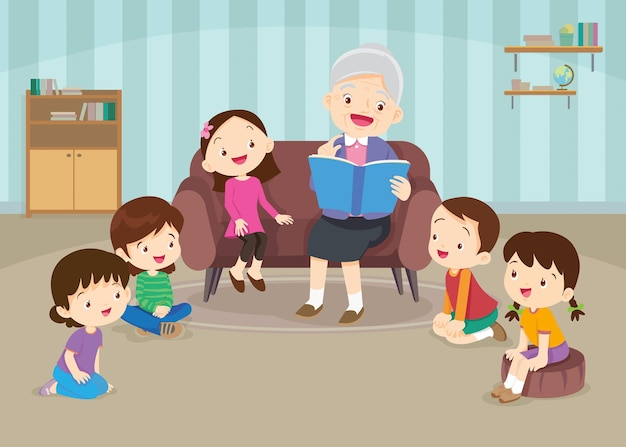Grandfather reading fairy tales to his grandchildren
