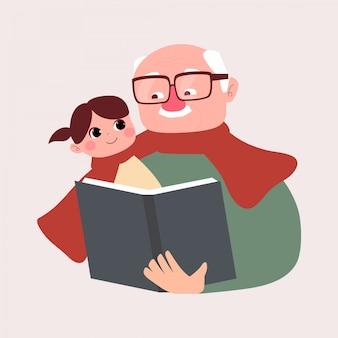 祖父が小さな孫に物語の本を読んでいます。幸せな祖父母の日コンセプト。おじいちゃんフラットイラストと話の時間。