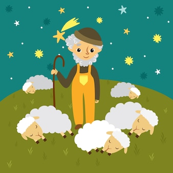 Grandfather shepherd in a meadow and sleeping sheep. starry sky