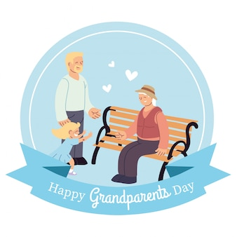 Grandfather son and granddaughter on bench design, happy grandparents day