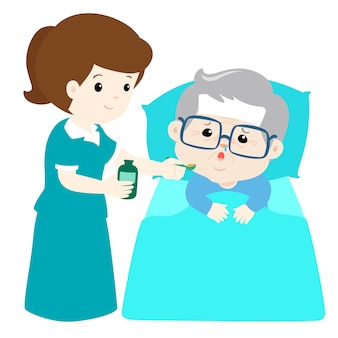 Grandfather taking medicine from nurse assistant with spoon