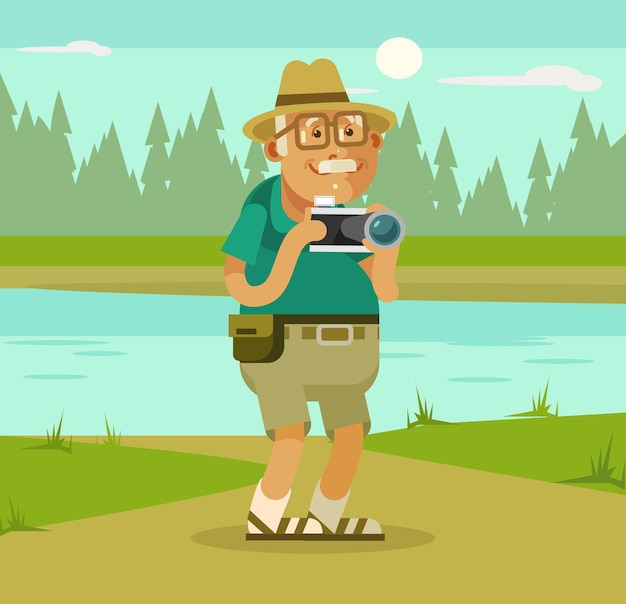 Grandfather tourist with camera on nature backround cartoon illustration