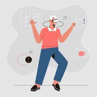 Дедушка с помощью гарнитуры виртуальной реальности