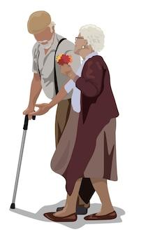 지팡이를 짚고 걷는 할아버지와 할머니