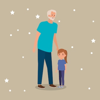 Grandfather with granddaughter avatar character