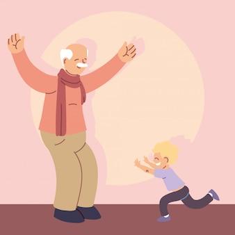 손자와 할아버지, 행복 한 조부모의 날
