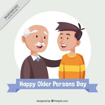 Дедушка с внуком на день пожилых людей