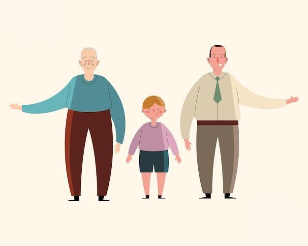 할아버지와 손자 가족 캐릭터