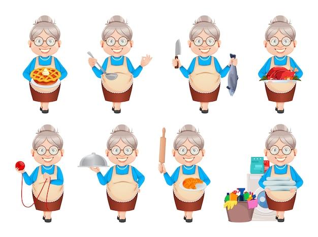 Grandma cartoon character, set of eight poses