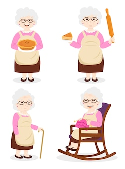Grandma cooking, grandmother wearing dress and glasses