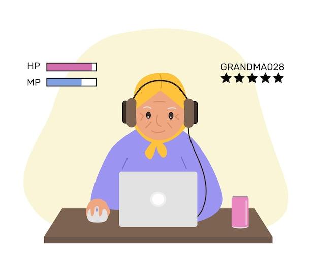 おばあちゃんはコンピューターゲームをしますラップトップで幸せなおばあちゃん