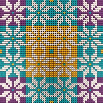 Рождественский бабушкин вязаный узор в мятно-лавандовых тонах