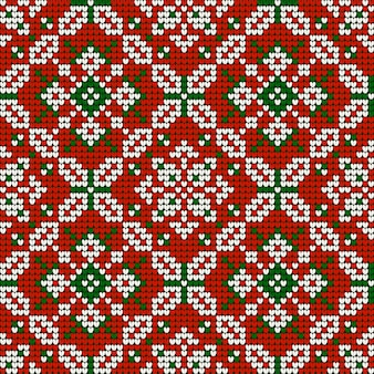 Grandma s christmas knitting pattern in red, green and white colors